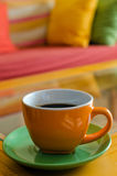 Cup of Coffee. Focus on a cup of coffee. Defocused background with similar colors Stock Images