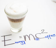 Cup Of Coffee. Formula Coffee. Cup Of Coffee. Coffee in cup with red heart and dessert. Handwriting formula coffee. Creative concept Stock Photography