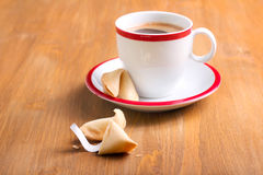 Cup of coffee and fortune cookie Royalty Free Stock Images