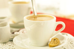 Cup of coffee with fragrant crouton Stock Photo