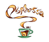 A cup of coffee and fragrant inscription espresso Stock Photo