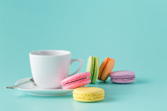 Cup of coffee and french macaron Royalty Free Stock Photography