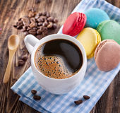 Cup of coffee and french macaron. Stock Images