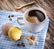 Cup of coffee and french macaron. Royalty Free Stock Images