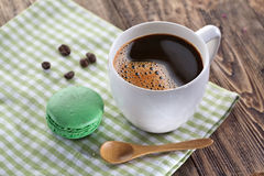 Cup of coffee and french macaron. Stock Photo