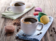 Cup of coffee and french macaron. Royalty Free Stock Image