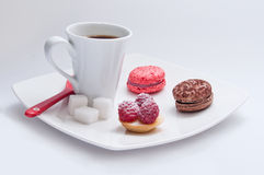 Cup of coffee with french pastry Royalty Free Stock Photos