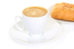 Cup of coffee and fresh bakery Stock Photography