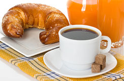 Cup of coffee, fresh croissants Stock Photos