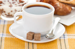 Cup of coffee, fresh croissants Royalty Free Stock Images