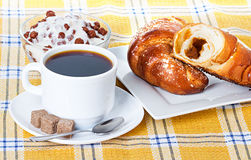 Cup of coffee, fresh croissants and muesli Royalty Free Stock Photography