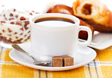 Cup of coffee, fresh croissants and muesli Stock Images