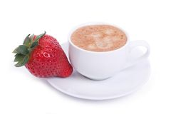 Cup of coffee and fresh ripe strawberries on a plate Stock Photography