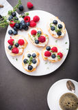 Cup of coffee with fruit sandwiches Stock Image