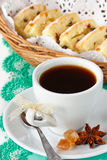 Cup of coffee and fruitcake. Royalty Free Stock Photo