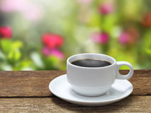 Cup of coffee in a garden blur Stock Images