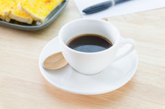 Cup of coffee and garlic bread Stock Photo