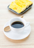 Cup of coffee and garlic bread Royalty Free Stock Photo