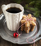Cup of coffee and gingerbread cookies Stock Photo