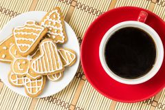 Cup of coffee with gingerbread cookies. Top view Royalty Free Stock Photography