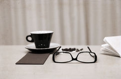 Cup of coffee, glasses Stock Photo