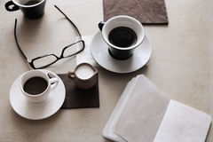 cup of coffee, glasses Stock Image