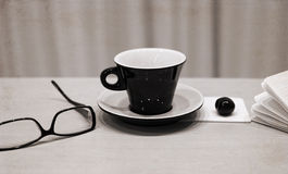 cup of coffee, glasses, cherry Stock Photography