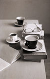 cup of coffee, glasses, notebook, books Royalty Free Stock Images