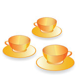Cup for coffee gold set vector Stock Photography