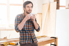 Cup of coffee for good work. Royalty Free Stock Photos