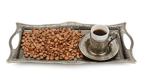 Cup and coffee grain Royalty Free Stock Photo