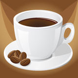 Cup of coffee and grains Stock Photos