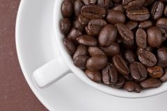 Cup with coffee grains Stock Photography