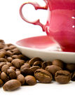 Cup of coffee with grains Stock Images