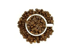 Cup of Coffee Grains Stock Photography