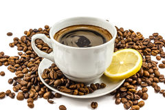 Cup of coffee with grains Stock Photos