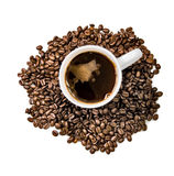 Cup of coffee on grains Royalty Free Stock Photography
