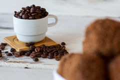 Cup of coffee grains. Royalty Free Stock Photos