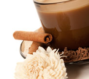 A cup of coffee and grated chocolate Stock Images