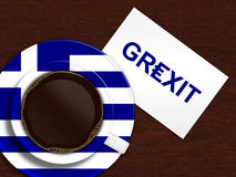 Cup of coffee with greek flag and grexit text lying on wooden de Stock Photo