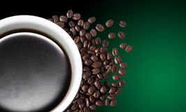 Cup of coffee. A cup of coffee green backgound Royalty Free Stock Images