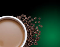 Cup of coffee. A cup of coffee green background Stock Photo
