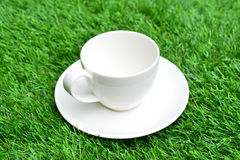 Cup of coffee on green grass Stock Image