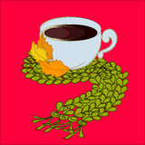 Cup of coffee and green scarf. With autumn leaves Stock Photo