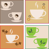 Cup of coffee and green tea Royalty Free Stock Images