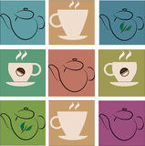 Cup of coffee and green tea Royalty Free Stock Photo