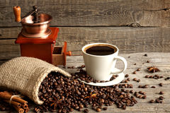 Cup of coffee and grinder vintage still life Stock Photography