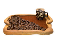 Cup of coffee, ground coffee and coffee beans Stock Photo