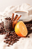Cup of coffee, half an orange and coffee beans Stock Images