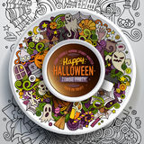 Cup of coffee with Halloween doodles. Vector illustration with a Cup of coffee with hand drawn Halloween doodles on a saucer, on paper and on the background stock illustration